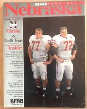 1993 Nebraska Huskers vs North Texas Game Program Magazine with Lundberg Wiegert