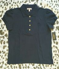 JUICY COUTURE BLUE Puff sleeve Cotton Polo Shirt Sz S