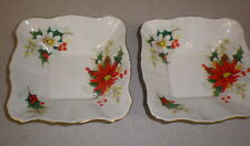PAIR-Royal Albert YULETIDE Small Square Sweet Meat Dishes - POINSETTIAS