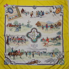 "Auth HERMES ""The Royal and Ancient Game of Golf"" Yellow Silk Scarf N305"