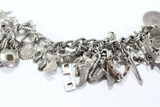 Vintage Classic Sterling Silver Double Link Bracelet and 26 Charms Free Shipping