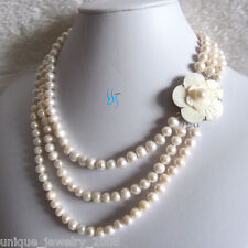 """17-20"""" 7-8mm White 3Row Freshwater Pearl Necklace Pearl Jewelry Strand Necklace"""