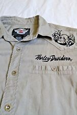 Official Harley Davidson Button Shirt Embroidered Skulls & Crossbones Size M