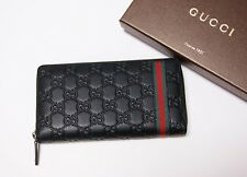 New Authentic Gucci Men's Vintage WEB  Black Guccissima Leather Wallet
