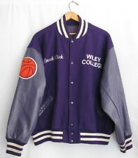 Vtg Wiley College Basketball Letterman Coach Purple Jacket Coat Sz XL Mens Patch