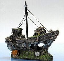 Ornament Fish Tank Sailing Boat Destroyer Sunk Ship Aquarium Wreck Cave Decor