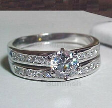 925 STERLING SILVER 1.0 CT ROUND BRILLIANT WEDDING ENGAGEMENT 2 RING SET SIZE 6