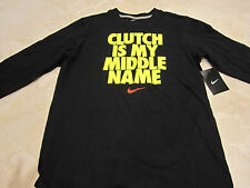 "NWT NIKE BOY'S ""CLUTCH"" TENNIS LONGSLEEVE SHIRT (XLARGE) BLACK 549105"