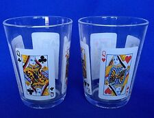 Poker Glasses Playing Cards ARC Arcoroc Set of 2 VTG Jack Queen Tumbler France