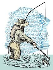 ART PRINT POSTER PAINTING SPORT ANGLING FISHING NET ROD RIVER CATCH LFMP0266