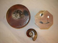 (2) Handcrafted Stash Boxes (Trilobite Ammonite & Marble Soapstone) + (1) Fossil