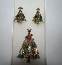 Vintage HOLLYCRAFT Christmas Tree Brooch Pin & Matching Clip On Earrings! NICE!!