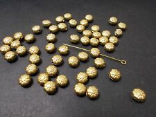 200pcs 8mm Acrylic Flat Round Flower Patterned Spacer Beads - GOLD GOLDEN