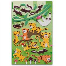 CUTE TIGER & SKUNK FELT STICKERS Sheet Animal Fuzzy Raised Scrapbook Sticker