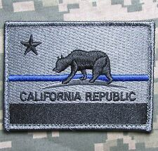 CALIFORNIA STATE FLAG TACTICAL REPUBLIC POLICE THIN BLUE LINE SWAT HOOK PATCH