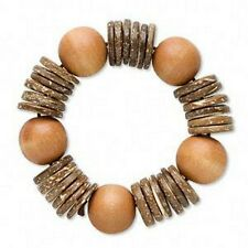 Natural Wood & Coconut Shell Bracelet Beads Stretch 7.5+ inch Tropical Jewelry
