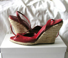 Fabulous Red Leather Ankle Strap Wedge Heel Shoes by L.K.Bennett UK 6.5/40