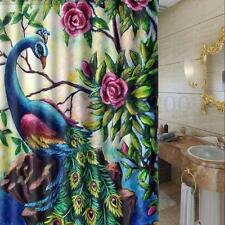 72 inch Colorful Flower Peacock Polyester Bathroom Shower Curtain With 12 Hooks