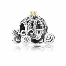 Authentic Pandora 14K Gold Disney Cinderella Pumpkin Coach Charm Bead 791573CZ