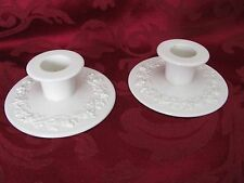 Wedgwood ivory queensware candle holders raised grapevine relief