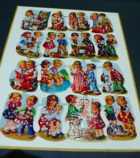 Rare1950s 16 Die Cut Embossed Paper Scraps Full Sheet Playing Children W.GERMANY