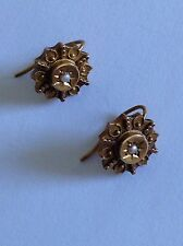 Pretty Victorian 15ct Gold Etruscan & Seed Pearl Earrings - Chester 1888