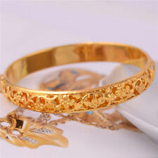 Women Girl Flower Carved 14K Gold Filled Bangle Wedding Party Bracelet Jewelry