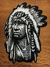 Native American Indian chief ethnic retro biker applique iron-on patch
