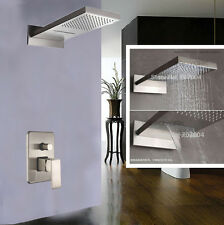 "Wall Mount Brushed Nickel 22"" Rain Waterfall Shower Faucet Set Mixer Tap Valve"