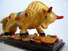 Gold Chinese Oriental OX Bull Feng Shui Lucky Money Coin Zodiac Animal Figurine
