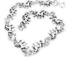 "Sterling Silver 6.75"" Unicorn Fantasy Horse Charm Link Bracelet"