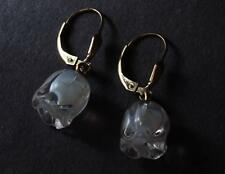 LALIQUE MUGUET LILY FLOWER OPALESCENT CRYSTAL 14K GLD FILLED LEVER BACK EARRINGS