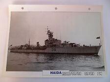 CARTE FICHE NAVIRES DE GUERRE HAIDA 1942 DESTROYER