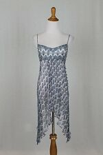 Vintage Badgley Mischka Couture 90's Beaded Silk Flapper Dress Deco Blue Print 2