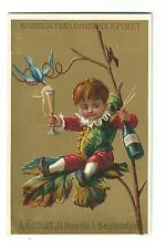 Old French Trade Card Au Gamin De Paris Chaussures F PINET Children's Shoes