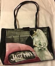 JUST MARRIED LIFE TOTE / PURSE COLORIZED VINTAGE PHOTO WITH RHINESTONE ACCENT