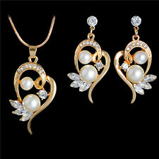 Hot Pearl 18k White/Gold Filled Austrian Crystal Jewelry Sets Necklace/Earrings