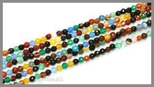 """15"""" Mixed Onyx / Agate Round Faceted Beads 4mm #58044"""