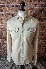 Da Uomo Vintage Crema Levis Cowboy Western Camicia Medio R Scheda Bianco Pearl Snap Sawtooth