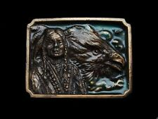 LC07134 COOL VINTAGE 1984 INDIAN  AND BALD EAGLE'S HEAD BELT BUCKLE