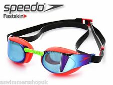 SPEEDO UNISEX ORANGE FASTSKIN MIRROR SWIMMING GOGGLES ADULT RACING ANTI FOG