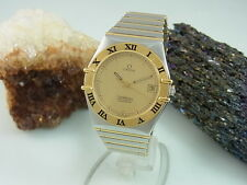 OMEGA CONSTELLATION CHRONOMETER STAHL / 18K GOLD AUTOMATIC GLASBODEN SAPHIR GLAS