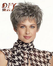 Women's Wig Dark Gray Short Straight Synthetic Natural Hair Cosplay Full Wigs