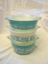 Vintage 1950 Pyrex Set 3 Turquoise Butterprint Casserole Fridge Glass Dish Lids