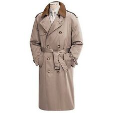 EUC RALPH LAUREN WOOL LINER Double Breasted LONG  KHAKI RAINCOAT TRENCH COAT-40R
