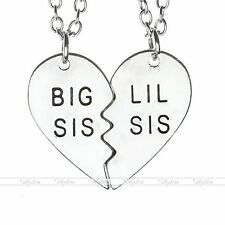 2x Love Heart Pendant Chain Necklace Family (BIG SIS / LIL SIS) Sister Gift Set