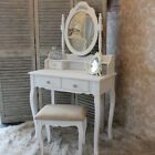 white dressing table stool mirror set bedroom french style furniture painted