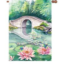 "Water Lily Flower Dragonfly Pond Bridge House Flag 40"" x 28"""