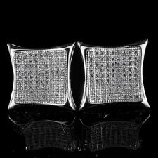18K White Gold ICED OUT Simulated Diamond Micropave Square Stud Hip Hop Earring