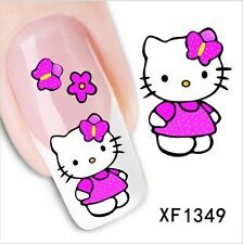 UK , 24pcs Colorful Hello Kitty 3D Nail Art Stickers Manicure Tips Mix  Decals